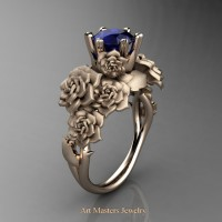 Nature Inspired 14K Rose Gold 1.0 Ct Blue Sapphire Rose Bouquet Leaf and Vine Engagement Ring R427-14KRGSBS