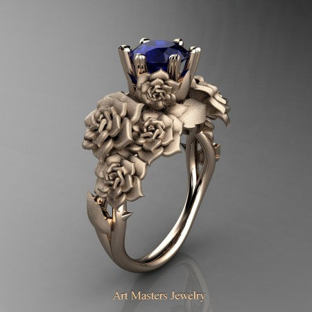 Nature-Inspired-14K-Rose-Gold-1-0-Ct-Blue-Sapphire-Rose-Bouquet-Leaf-and-Vine-Engagement-Ring-R427-14KRGSBS-P