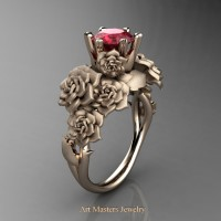 Nature Inspired 14K Rose Gold 1.0 Ct Ruby Rose Bouquet Leaf and Vine Engagement Ring R427-14KRGSR