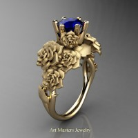 Nature Inspired 14K Yellow Gold 1.0 Ct Blue Sapphire Rose Bouquet Leaf and Vine Engagement Ring R427-14KYGSBS
