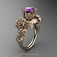 Nature Inspired 14K Rose Gold 1.0 Ct Amethyst Rose Bouquet Leaf and Vine Engagement Ring R427-14KRGSAM