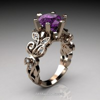 Nature Inspired 14K Rose Gold 3.0 Ct Violet Amethyst Diamond Leaf and Vine Crown Solitaire Ring RNY101-14KRGDVAM