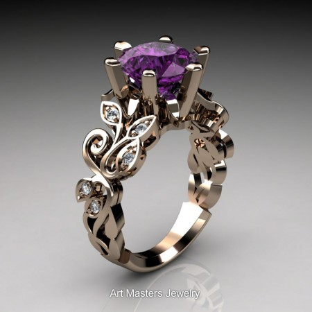 Nature-Inspired-14K-Rose-Gold-3-Ct-Violet-Amethyst-Diamond-Leaf-and-Vine-Crown-Solitaire-Ring-RNY101-14KRGDVAM-P
