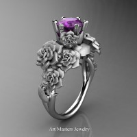 Nature Inspired 14K White Gold 1.0 Ct Amethyst Rose Bouquet Leaf and Vine Engagement Ring R427-14KWGSAM