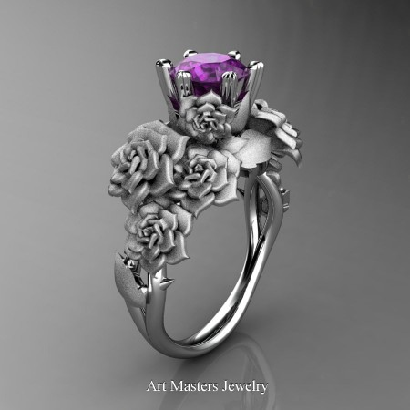 Nature-Inspired-14K-White-Gold-1-0-Ct-Amethyst-Rose-Bouquet-Leaf-and-Vine-Engagement-Ring-R427-14KWGSAM-P