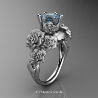 Nature Inspired 14K White Gold 1.0 Ct Blue Topaz Rose Bouquet Leaf and Vine Engagement Ring R427-14KWGSBT