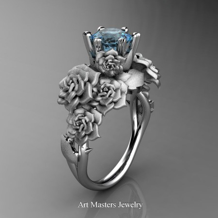 Nature-Inspired-14K-White-Gold-1-0-Ct-Blue-Topaz-Rose-Bouquet-Leaf-and-Vine-Engagement-Ring-R427-14KWGSBT-P