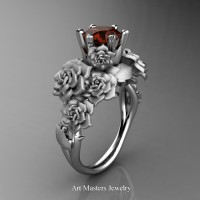 Nature Inspired 14K White Gold 1.0 Ct Brown Diamond Rose Bouquet Leaf and Vine Engagement Ring R427-14KWGSBRD
