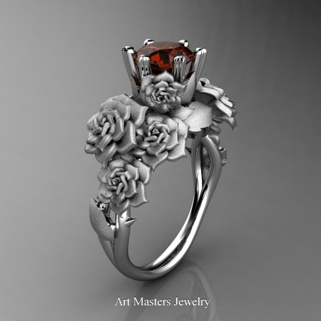 Nature-Inspired-14K-White-Gold-1-0-Ct-Brown-Diamond-Rose-Bouquet-Leaf-and-Vine-Engagement-Ring-R427-14KWGBRD-P