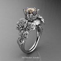 Nature Inspired 14K White Gold 1.0 Ct Champagne Diamond Rose Bouquet Leaf and Vine Engagement Ring R427-14KWGSCHD