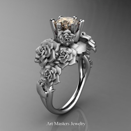 Nature-Inspired-14K-White-Gold-1-0-Ct-Champagne-Diamond-Rose-Bouquet-Leaf-and-Vine-Engagement-Ring-R427-14KWGSCHD-P