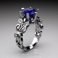 Nature Inspired 14K White Gold 3.0 Ct Blue Sapphire Diamond Leaf and Vine Crown Solitaire Ring RNY101-14KWGDBS