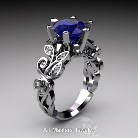 Nature-Inspired-14K-White-Gold-3-Ct-Blue-Sapphire-Diamond-Leaf-and-Vine-Crown-Solitaire-Ring-RNY101-14KWGDBS-P2