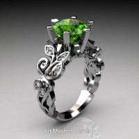Nature Inspired 14K White Gold 3.0 Ct Peridot Diamond Leaf and Vine Crown Solitaire Ring RNY101-14KWGDP