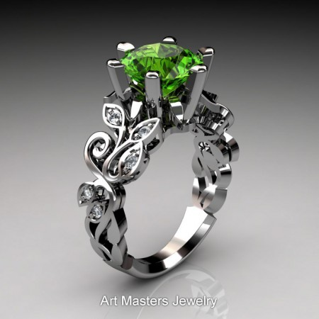Nature-Inspired-14K-White-Gold-3-Ct-Peridot-Diamond-Leaf-and-Vine-Crown-Solitaire-Ring-RNY101-14KWGDP-P2