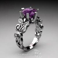 Nature Inspired 14K White Gold 3.0 Ct Violet Amethyst Diamond Leaf and Vine Crown Solitaire Ring RNY101-14KWGDVAM