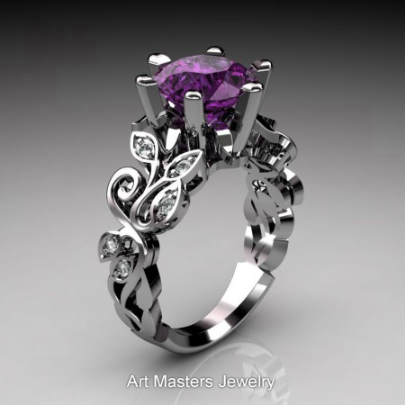 Nature-Inspired-14K-White-Gold-3-Ct-Violet-Amethyst-Diamond-Leaf-and-Vine-Crown-Solitaire-Ring-RNY101-14KWGDVAM-P