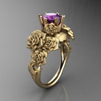 Nature Inspired 14K Yellow Gold 1.0 Ct Amethyst Rose Bouquet Leaf and Vine Engagement Ring R427-14KYGSAM