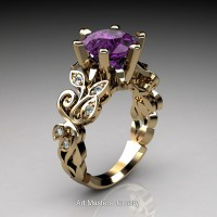 Nature Inspired 14K Yellow Gold 3.0 Ct Violet Amethyst Diamond Leaf and Vine Crown Solitaire Ring RNY101-14KYGDVAM