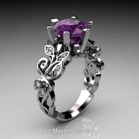 Nature-Inspired-950-Platinum-3-Ct-Violet-Amethyst-Diamond-Leaf-and-Vine-Crown-Solitaire-Ring-RNY101-PLATDVAM-P