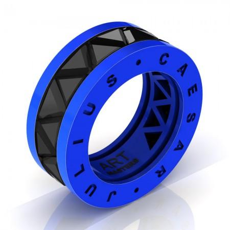 Caesars-Collection-Legionnaire-Mens-Modern-14K-Blue-Gold-Triangle-Black-Diamond-Channel-Cluster-Ring-Band-R777KS-14KBGBD