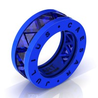 Caesars Modern 14K Blue Gold Triangle Blue Sapphire Channel Cluster Legionnaire Ring R777KS-14KBLGBS