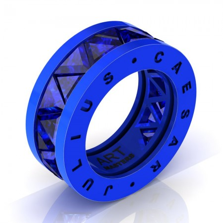 Caesars-Collection-Legionnaire-Mens-Modern-14K-Blue-Gold-Triangle-Blue-Sapphire-Channel-Cluster-Ring-Band-R777KS-14KBGBS