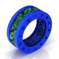 Caesars Modern 14K Blue Gold Triangle Emerald Channel Cluster Legionnaire Ring R777KS-14KBLGEM