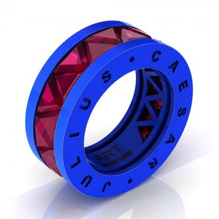 Caesars-Collection-Legionnaire-Mens-Modern-14K-Blue-Gold-Triangle-Ruby-Channel-Cluster-Wedding-Band-R777KS-14KBGR
