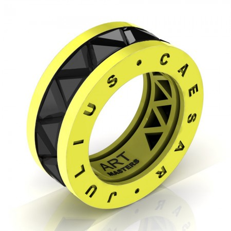 Caesars-Collection-Legionnaire-Mens-Modern-14K-Laser-Lemon-Gold-Triangle-Black-Diamond-Channel-Cluster-Ring-Band-R777KS-14KLLGBD