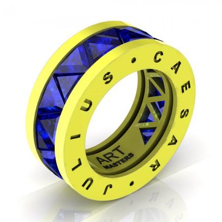 Caesars-Collection-Legionnaire-Mens-Modern-14K-Laser-Lemon-Gold-Triangle-Blue-Sapphire-Channel-Cluster-Ring-Band-R777KS-14KLLGBS