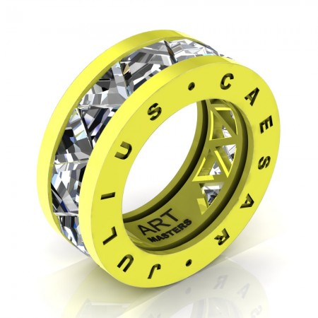 Caesars-Collection-Legionnaire-Mens-Modern-14K-Laser-Lemon-Gold-Triangle-White-Sapphire-Channel-Cluster-Ring-R777KS-14KLLGWS