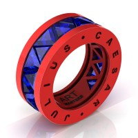 Caesars Modern 14K Red Gold Triangle Blue Sapphire Channel Cluster Legionnaire Ring R777KS-14KREGBS