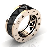 Caesars Collection 14K Rose Gold Triangle Black Sapphire Channel Cluster Signature Ring R777KS-14KRGBLS