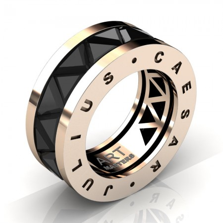 Caesars-Collection-Mens-Modern-14K-Rose-Gold-Triangle-Black-Sapphire-Channel-Cluster-Ring-Band-R777KS-14KRGBLS-A