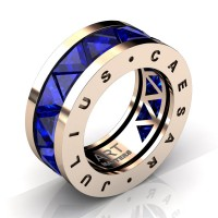 Caesars Collection 14K Rose Gold Triangle Blue Sapphire Channel Cluster Signature Ring R777KS-14KRGBS