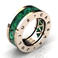 Caesars Collection 14K Rose Gold Triangle Emerald Channel Cluster Signature Ring R777KS-14KRGEM