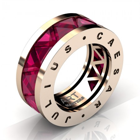 Caesars-Collection-Mens-Modern-14K-Rose-Gold-Triangle-Ruby-Channel-Cluster-Ring-Band-R777KS-14KRGRR