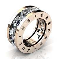 Caesars Collection 14K Rose Gold Triangle White Sapphire Channel Cluster Signature Ring R777KS-14KRGWS