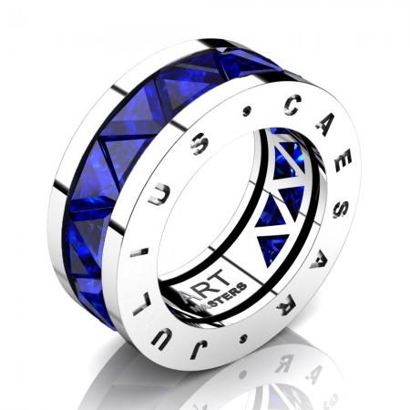 Caesars-Collection-Mens-Modern-14K-White-Gold-Triangle-Blue-Sapphire-Channel-Cluster-Wedding-Band-R777KS-14KWGBS8
