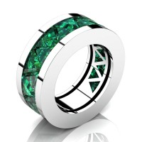 Caesars Modern 14K White Gold Triangle Emerald Channel Cluster Mens Ring R777K-14KWGEM