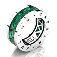 Caesars Collection 14K White Gold Triangle Emerald Channel Cluster Signature Ring R777KS-14KWGEM