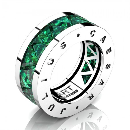 Caesars-Collection-Mens-Modern-14K-White-Gold-Triangle-Emerald-Channel-Cluster-Wedding-Band-R777KS-14KWGEM