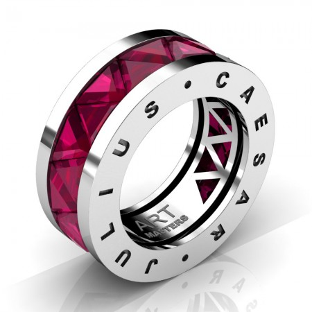 Caesars-Collection-Mens-Modern-14K-White-Gold-Triangle-Ruby-Channel-Cluster-Ring-Band-R777KS-14KWGR3
