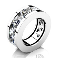 Caesars Modern 14K White Gold Triangle White Sapphire Channel Cluster Mens Ring R777K-14KWGWS