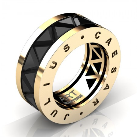 Caesars-Collection-Mens-Modern-14K-Yellow-Gold-Triangle-Black-Diamond-Channel-Cluster-Wedding-Band-R777KS-14KYGBD