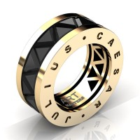 Caesars Collection 14K Yellow Gold Triangle Black Sapphire Channel Cluster Signature Ring R777KS-14KRGBLS