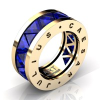 Caesars Collection 14K Yellow Gold Triangle Blue Sapphire Channel Cluster Signature Ring R777KS-14KYGBS
