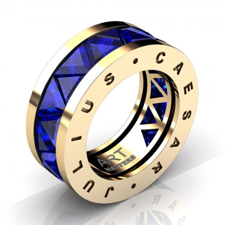 Caesars-Collection-Mens-Modern-14K-Yellow-Gold-Triangle-Blue-Sapphire-Channel-Cluster-Wedding-Band-R777KS-14KYGBS4