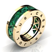 Caesars Collection 14K Yellow Gold Triangle Emerald Channel Cluster Signature Ring R777KS-14KYGEM